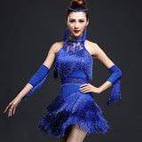 Stage Woman Latin Dance Dress Ice Silk Black/Purple/Blue Colors Vestido