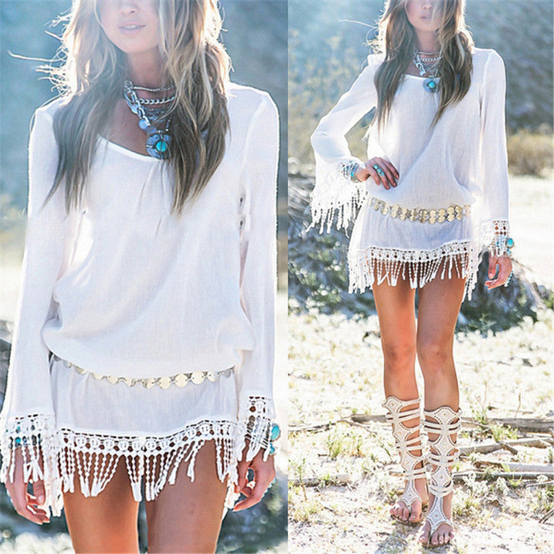 Spring Women Dress O Neck Lace Tassel Chiffon Mini Casual Loose Short Party Bohemian Beach Dress