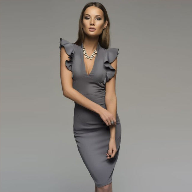 Spring Summer Sleeveless Ruffle Bodycon Women Deep V-Neck Party Dress Nightclub Dress