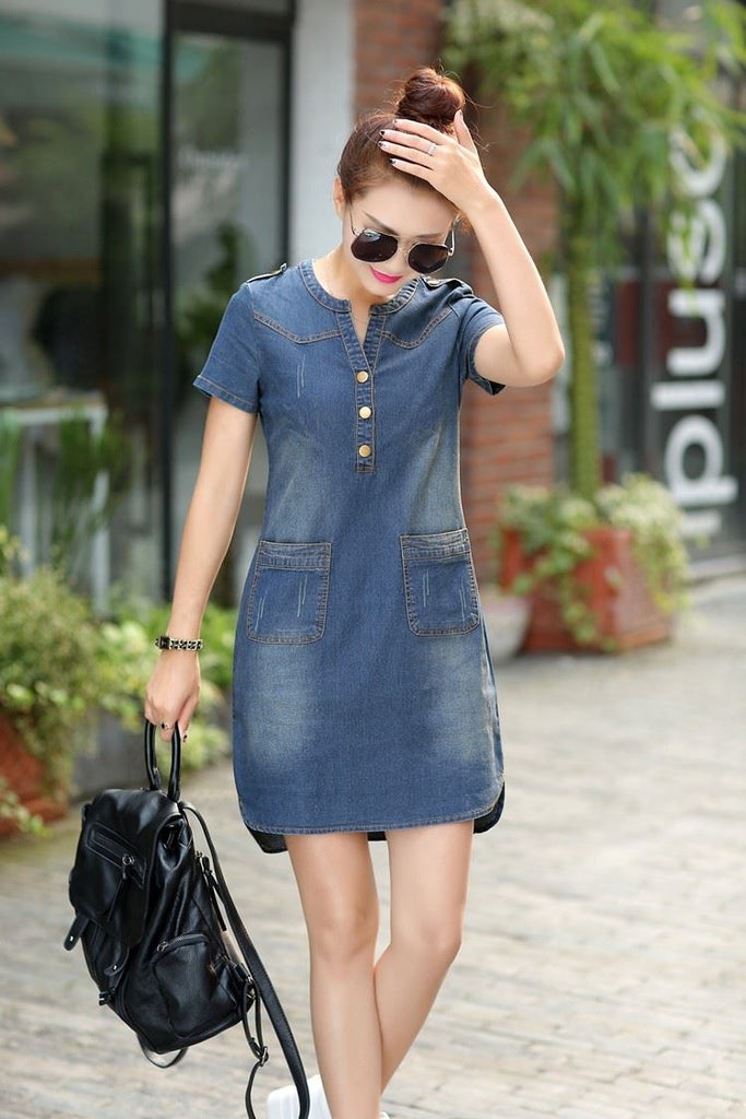 Summer Denim Dress Vintage Turn-down Collar Short Sleeve Pockets Jeans Dresses Loose Casual Dress