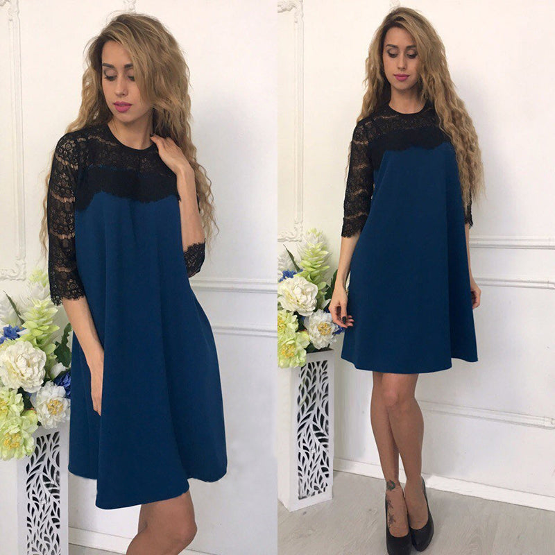 Summer Lace Stitching Hollow Out Straight Dress  Women Causal Loose Patchwork Three Quarter Sleeves Mini Dresses