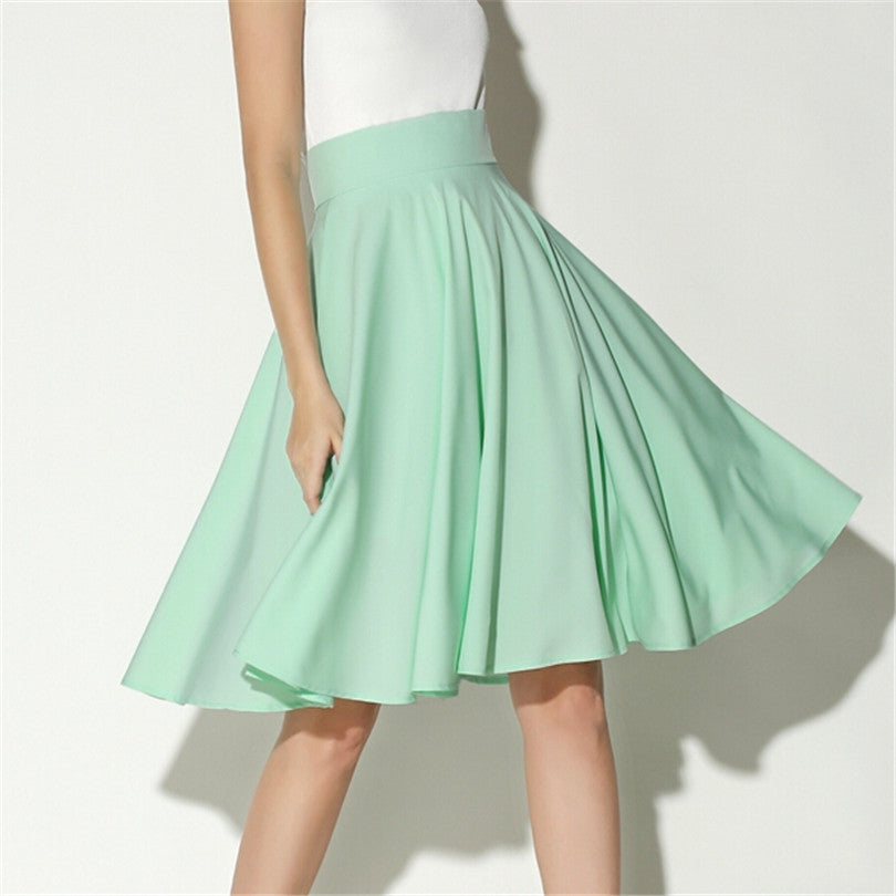 Summer High Waist Middle Zipper Skirt Coat Knee Length Vintage Midi Skirt Pleated Silk Pure Color
