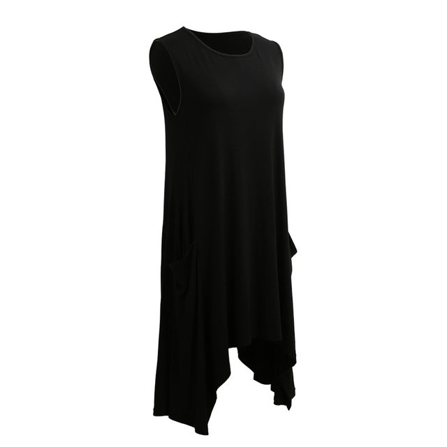 Summer Swing T Shirt Women Casual Long Tops Sleeveless Pockets Tunic Asymmetrical Hem T Shirt