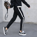 Women Leather Striped Harem Pants Women Black Casual High Waist Drawstring Loose Trousers Pantalon