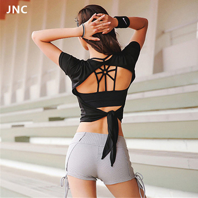 Women Backless Sports Shirts Open-Back Tops Yoga Short Sleeve Exercise Workout Crop Tops Gym Fitness