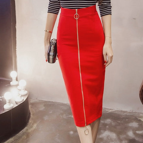48a25452b786d Office Skirt Plus Size Casual High Waist Mid Calf Long Stretch Zipper  Bodycon Red Pencil Skirts. Black