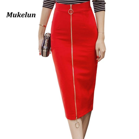 c6d17b619a7 Office Skirt Plus Size Casual High Waist Mid Calf Long Stretch Zipper  Bodycon Red Pencil Skirts