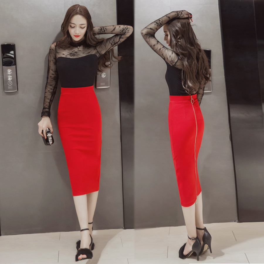 Office Skirt Plus Size Casual High Waist Mid Calf Long Stretch Zipper Bodycon Red Pencil Skirts