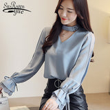 Lace Blouse Women Casual Long Sleeve Shirt Patchwork Tops Blouses