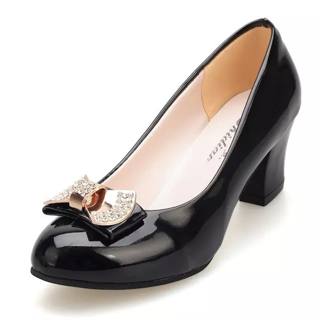 Round Toe Pumps Women Shoes Med Heels Shallow Slip on Butterfly Knot Square Heels Sweet Shoes