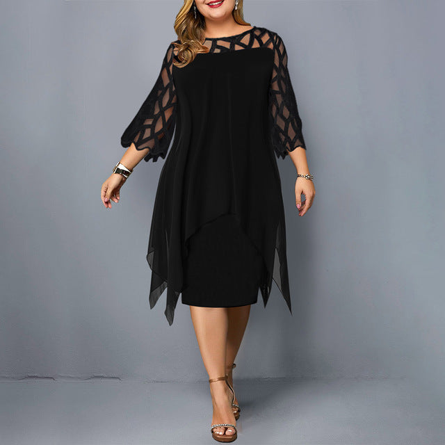 Women Plus Size Dress Black Sheer Lace Sleeve High Low Hem Swing Casual Party Dresses