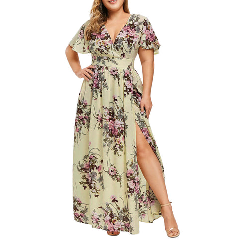 Women Summer Plus Size Solid Short Sleeve V-Neck Floral Printed Party Daily Casual Dresses