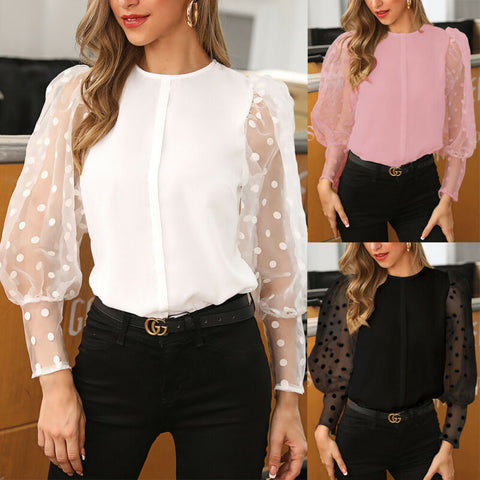 Spring Women Embroidery Chiffon Blouses Tops Feminine Long Sleeve Shirt Plus Size