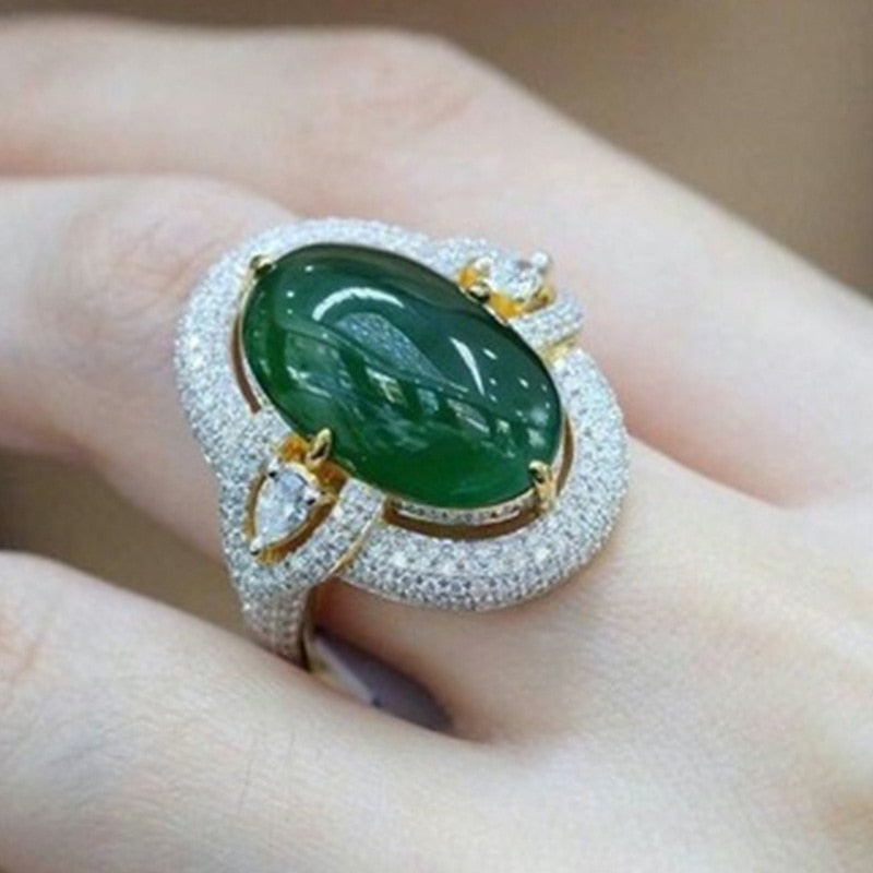 Big Green Ring  Silver Color Filled CZ Stone Ring Vintage Party Wedding Rings Women