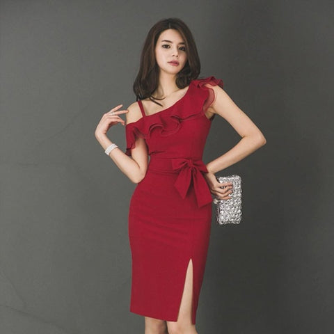 Summer Women Wine Red One-Shoulder High Waist Split Sleeveless Ruffles Elegant Dresses