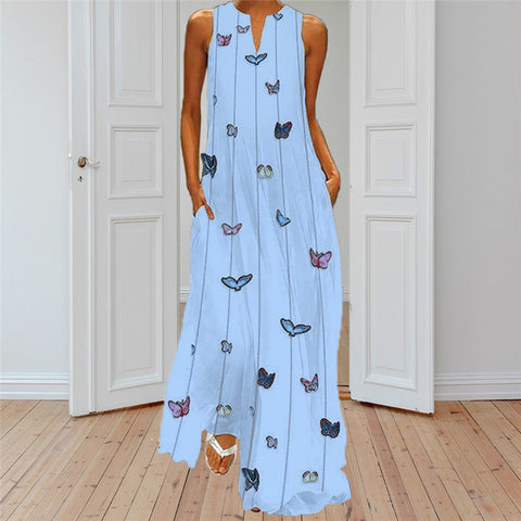 Summer Long Dresses Casual Striped Butterfly Solid Women V-neck Tank Sleeveless Beach Dresses