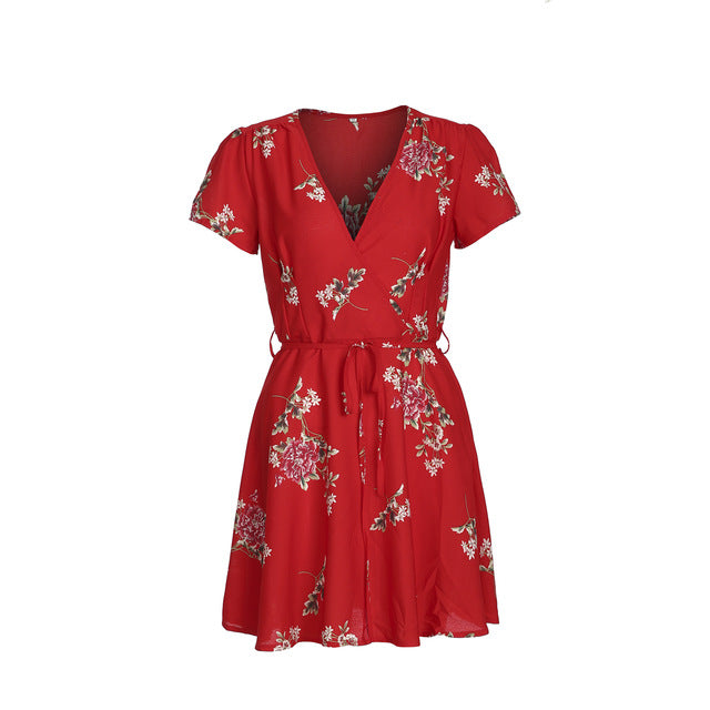 Women Floral Print Short Sleeve Mini Dress Summer Party Evening High Waist Loose Long Shirt Sundress