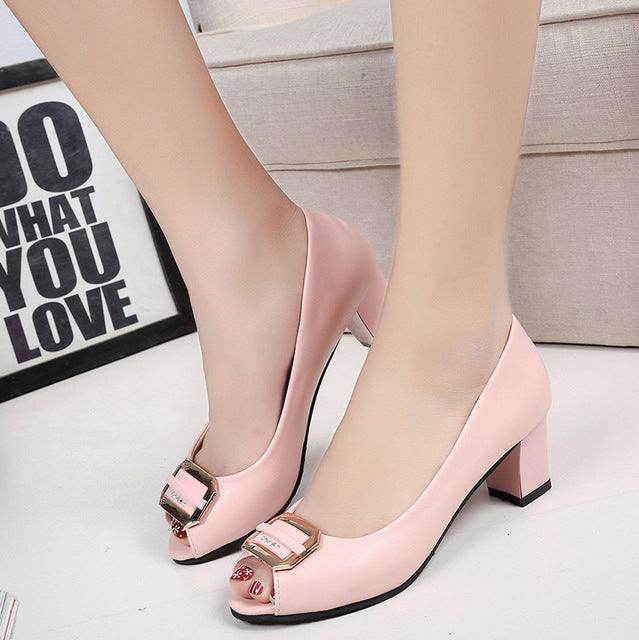 Women Pumps Peep Toe Single Shoes Rhinestone Medium Heels Sweet Casual Party Wedding Shoes