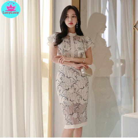 Korean Women Temperament Lotus Leaf Sleeves Lace Print Bag Hip Dresses