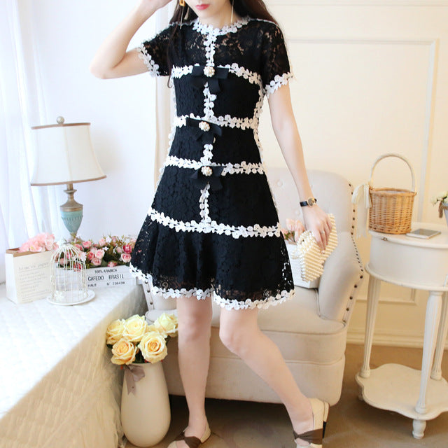Summer Dress Japanese Style Small Fragrance Temperament Slim Lace Dresses
