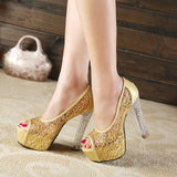 Summer Sandals Women Thick Crystal High Heels Fish Mouth Mesh Openwork Shoes