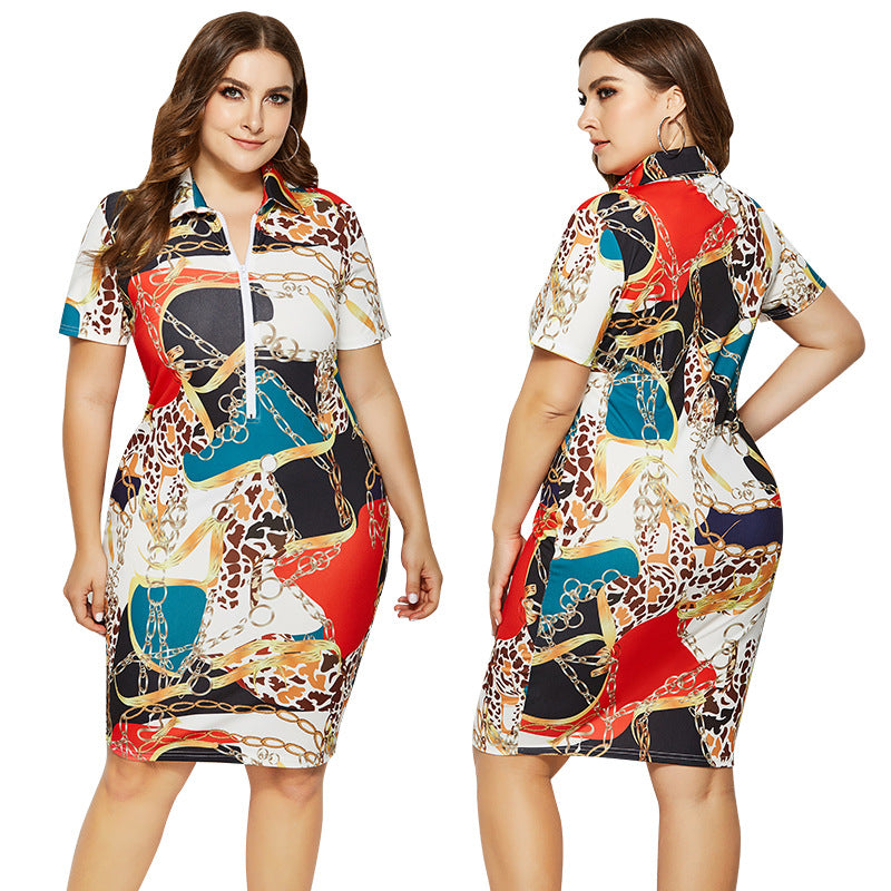 Women Summer Dress Print Casual Straight Knee Length Plus Size Polo Office Dresses