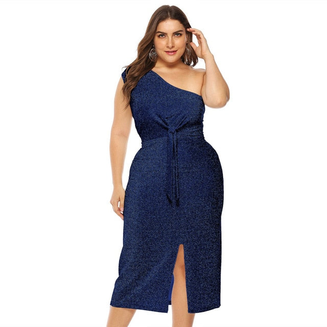 Plus Size Split Dress Summer Women One Shoulder Sleeveless Bow Bandage Slim Midi Dresses Bright Silk
