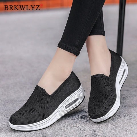 Spring Sneakers Breathable Woven Women Shoes Wild Student Running Mesh Sports Shoes
