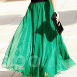 Spring Summer Women Big Show Thin Bohemia Golden Silk Chiffon Skirt Of Beach Long Skirts