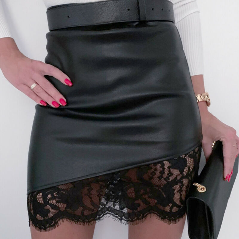 Women Lace Skirt Bandage Zipper Leather High Waist Pencil Bodycon Hip Short Mini Skirts