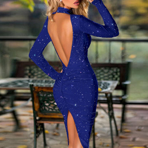 Halter Bright Silk Shiny Split Dress Women Spring Solid Backless Bodycon Party Long Sleeve Midi Dresses