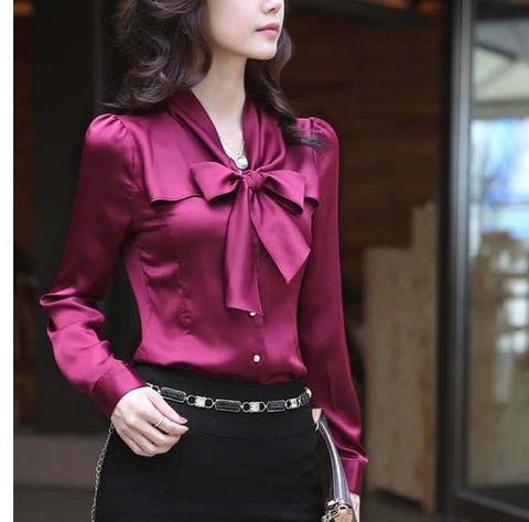 Spring Long Sleeve V Neck Bow Tie Satin Shirts Women Office Work Wear Blouses Bow Tie Chiffon Tops