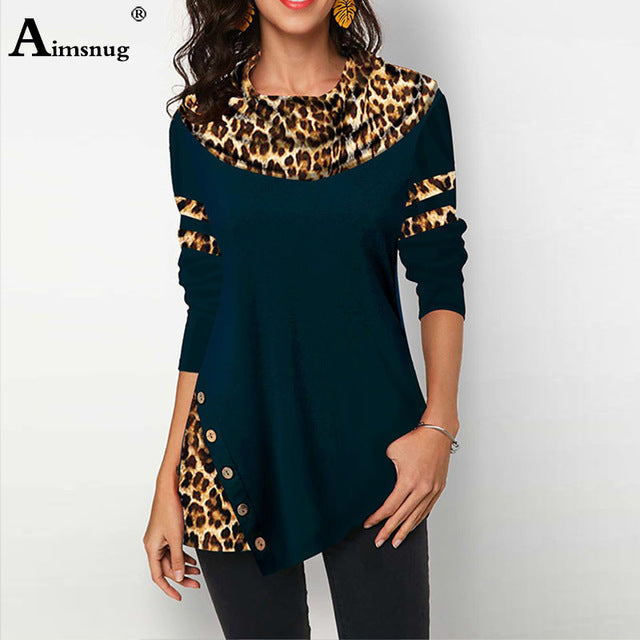 Spring Women Elegant Top Casual Loose Shirts Tunic Irregular Button Leopard Print Tee Shirt