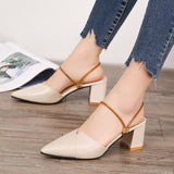 Summer Shoes Women Sandals Pointed Toe Square Heel Sandals High Heels