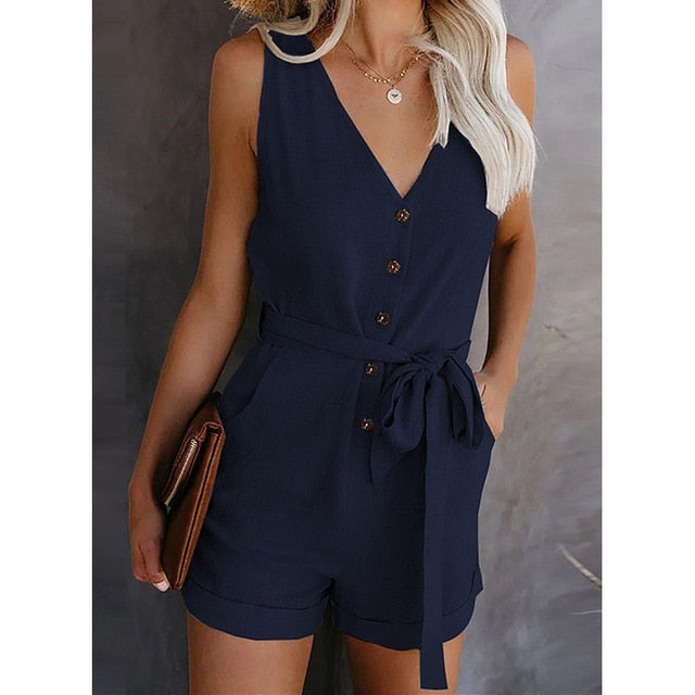 Summer Women Button V-Neck Jumpsuit Sashes Solid Office Short Retro Work Overalls Jumpsuits