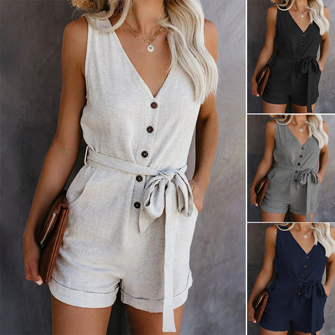 Camisole Summer Women Ankle-Length Pants Bodysuits Solid High Waist Rompers Jumpsuit