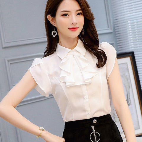 Summer Women Formal Sheer White Red Shirt Short Sleeve Ruffle Button Chiffon Tops Blouses Slim Work