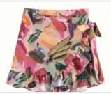 Women Sweet Tropical Flower Leaves Print Pleated Ruffles Mini Skirt Elastic Waist Lace Up Skirts