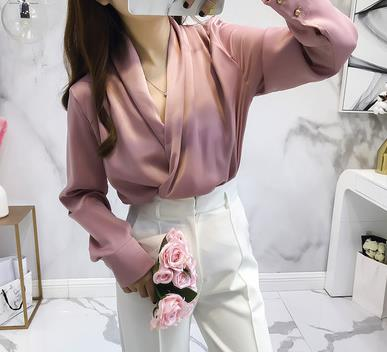 Autumn Long Sleeve Cross V Neck Satin Blouses Tops Women V Neck V Neck Shirts Tops