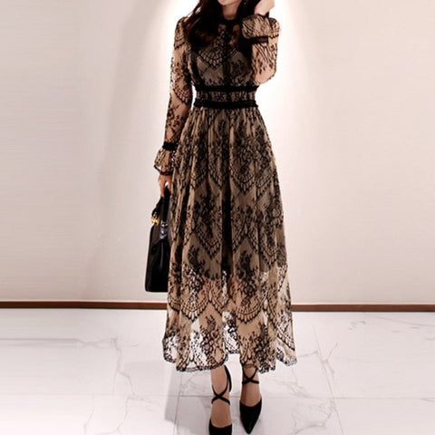 Spring Elegant Dress Women Vintage Lace Long Sleeve O-Neck Casual Slim Party Long Dresses