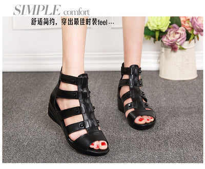 Summer Genuine Leather Soft Out Sole Comfortable Open Toe Wedges Shoes Flat Sandals