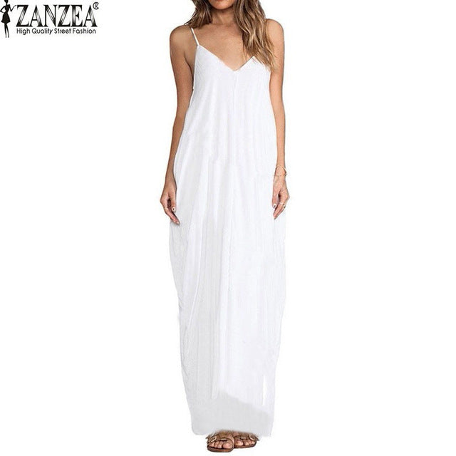 c59d96b638c ... Sundress Beach Summer Women Dress Boho Strapless V-neck Sleeveless  Baggy Long Maxi Dresses ...