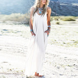 Sundress Beach Summer Women Dress Boho Strapless V-neck Sleeveless Baggy Long Maxi Dresses