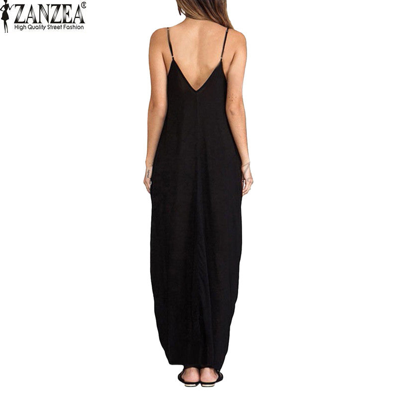 2a23582e5e ... Sundress Beach Summer Women Dress Boho Strapless V-neck Sleeveless  Baggy Long Maxi Dresses ...