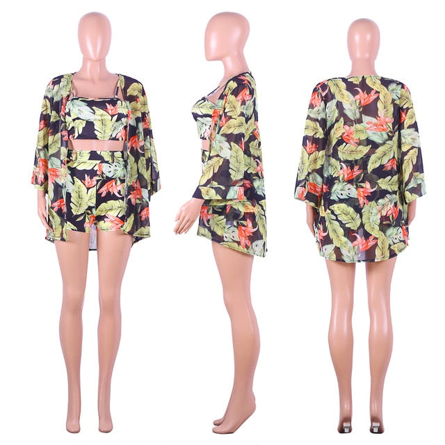 Women Floral Top Shorts Cardigan Long Sleeve Jumpsuit Vest Trousers Romper Playsuit Strap Cloak Sets