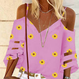 Daisy Print V Neck Blouse Shirt Women Summer Off Shoulder Flare Sleeve Mesh Patchwork Tops Spring Blouses