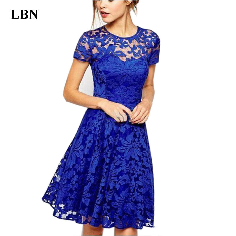 Plus Size Dress Sweet Hallow Out Lace Dress Party Princess Slim Summer Dresses Vestidos Red Blue