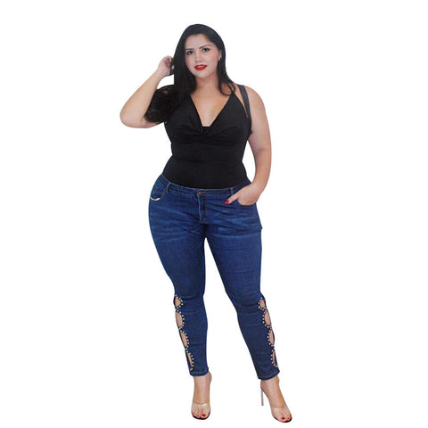 Plus Size Jeans Women Rivet Hollow Out Denim Pant Skinny Jeans Casual Mid Waist