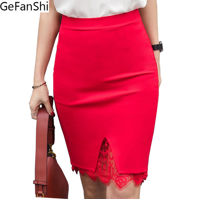 3ded757f732 ... Plus Size Skirt Formal Lace Patchwork Solid Skirt Skirts Elegant  Stretch Pencil Cute Midi Skirt ...