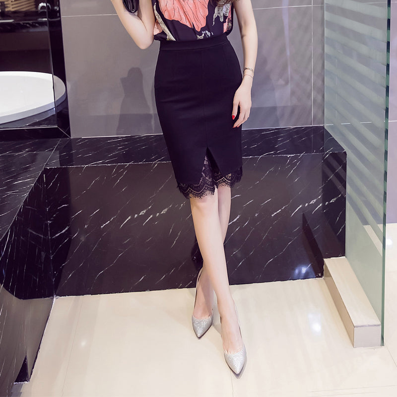 4ee881a18f7d0 ... Plus Size Skirt Formal Lace Patchwork Solid Skirt Skirts Elegant  Stretch Pencil Cute Midi Skirt ...